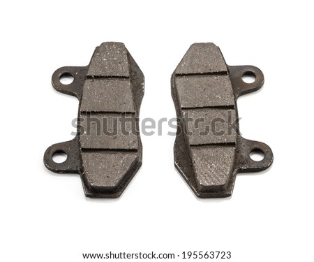 New auto brake pads on white background - stock photo