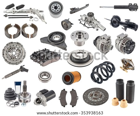 New auto spare parts isolated on white background  solenoid  - stock photo