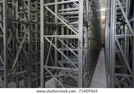 New automatic logistic shelves system in a warehouse - stock photo
