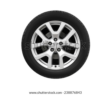 New automotive wheel on light alloy disc isolated on white background - stock photo
