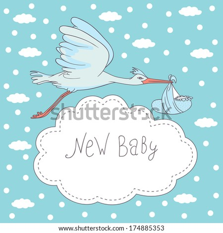 new baby, stork flying with baby - stock photo