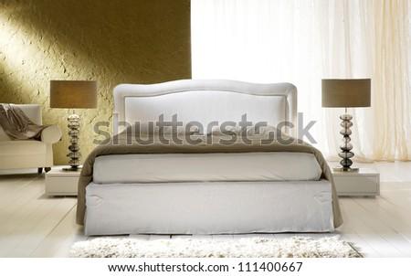 new-baroque gold bedroom - stock photo