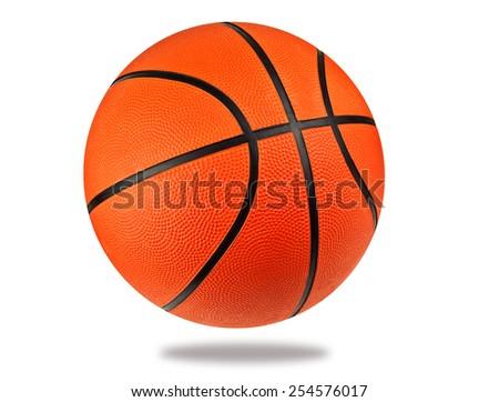 new basketball ball on white background - stock photo
