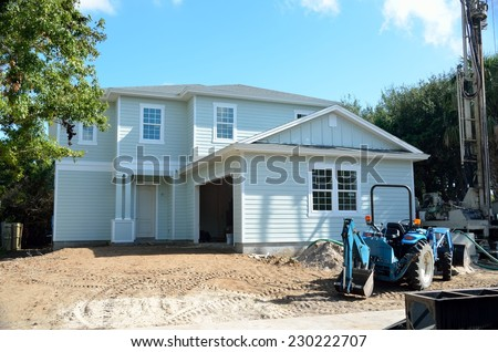 New beach home construction Florida, USA. - stock photo