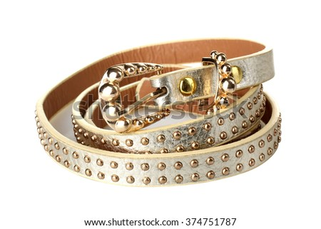 new beautiful women's belt on a white isolated background - stock photo