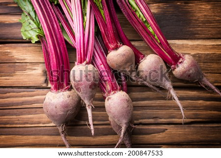 New beets with their foliage. Beet bunch. - stock photo
