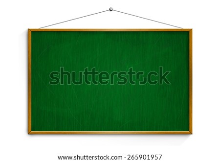 New Black chalk board with wooden frame  isolated on white background. - stock photo