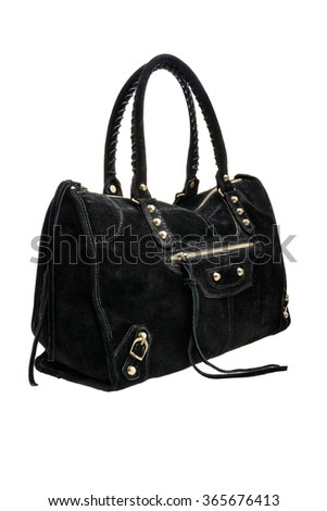 New black womens bag isolated on white background. - stock photo