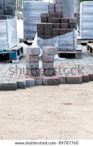 new block paving driveway - stock photo