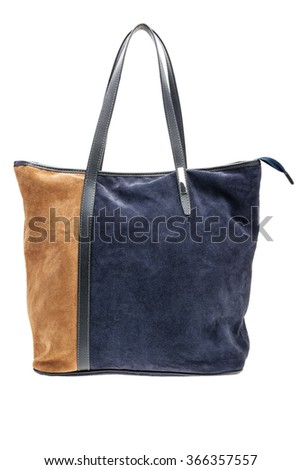 New blue and brown womens bag isolated on white background. - stock photo