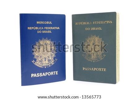 New - blue and Old - green, Brazilian Passport . - stock photo