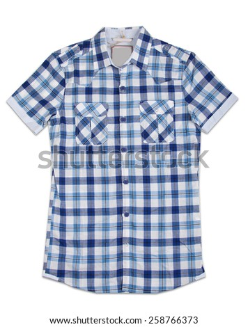 New blue stripes mens shirt. T-shirt Isolated on white - stock photo