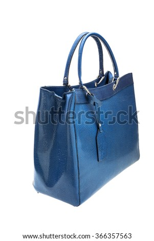 New blue womens bag isolated on white background. - stock photo
