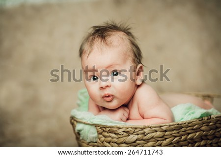 New born baby boy in a basket - stock photo