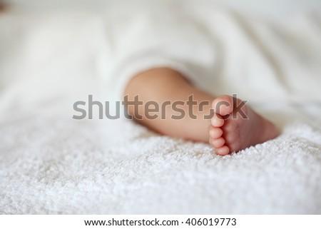 New Born Baby Feet on White Blanket, Closeup - stock photo