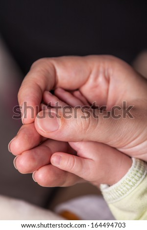 New born baby hand held by mother - stock photo