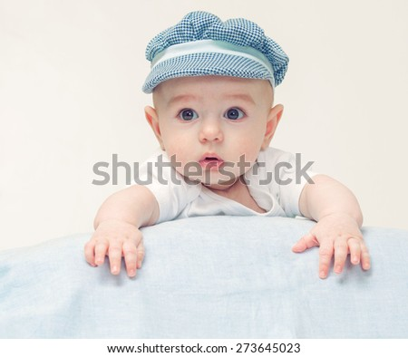New born baby portrait child infant  - stock photo