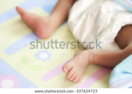 New born baby wear diapers - stock photo
