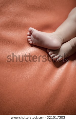 New born family Baby foot,selective color - stock photo