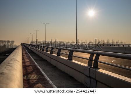 New bridge across Danube river in Belgrade, Serbia. Pupinov most - stock photo