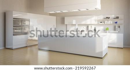 New bright kitchen with modern white kitchen island - stock photo