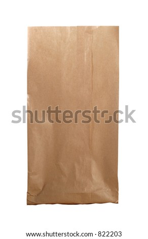 New brown paperbag isolated on white with clipping path - stock photo