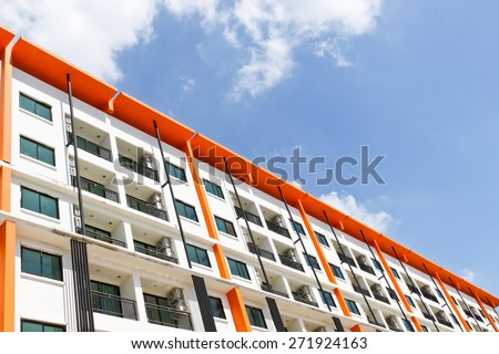 New building condominium soft focus ., Modern apartment complex exterior - stock photo