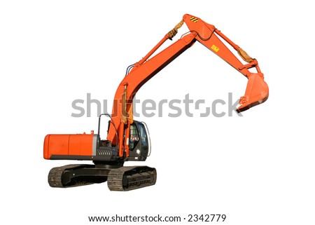 New building dredge of red color on a white background, Isolated - stock photo