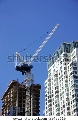 New building is built in downtown vancouver. - stock photo