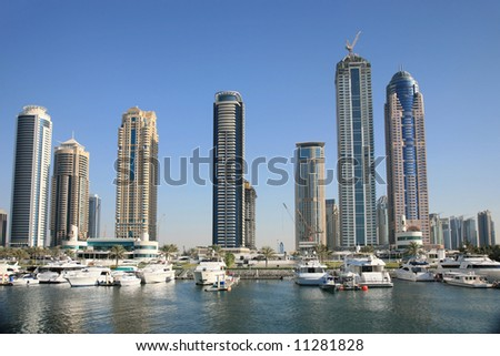 New Buildings rising in Marina Dubai UAE - stock photo