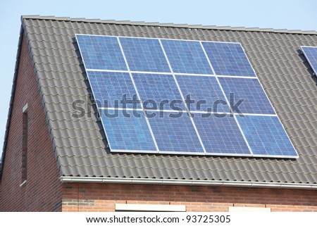 New buildings with solar panels - stock photo