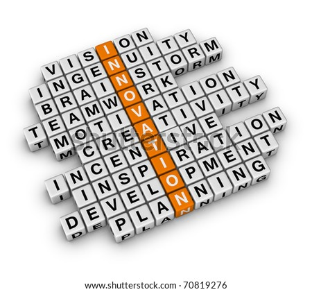 New Business Innovation (3D crossword orange series) - stock photo