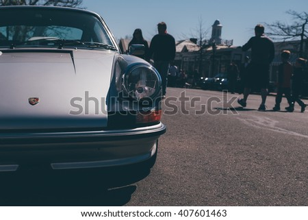 New Canaan,CT - April 17 2016: At a free public car show in New Canaan, the front clip of a classic Porsche. - stock photo