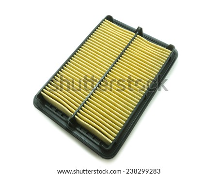 New car air filter on white background - stock photo