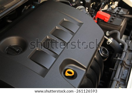 New car engine after fixing and cleansing in Garage - stock photo