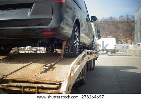 New car transported - stock photo