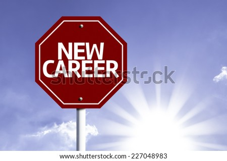 New Career written on red road sign with a sky on background - stock photo