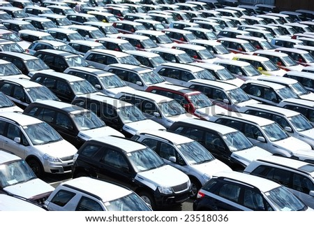 new cars at port - stock photo