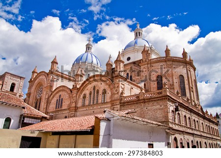 New cathedral in Cuenca Ecuador, with blue sky - stock photo