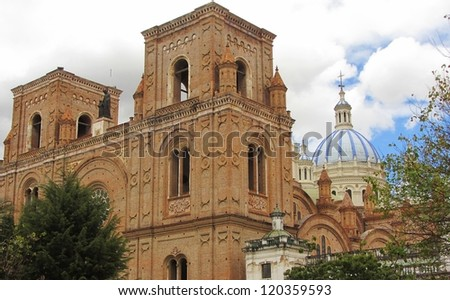 New Cathedral in Cuenca, view from the parque calderon, Ecuador - stock photo