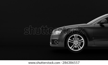 New CG 3d render of generic luxury detail sports car driving illustration isolated on a black background. Mockup with stylized noise effects - stock photo