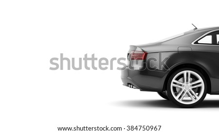 New CG 3d render of generic luxury detail sports car driving illustration isolated on a white background. Mockup with stylized noise effects - stock photo