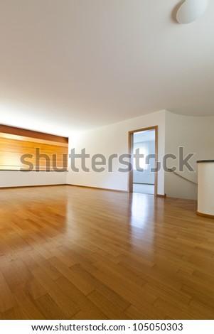 new classic house, interior, empty room with wooden floor - stock photo