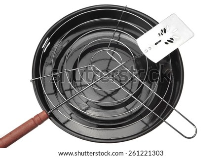New Clean Barbecue Grill and Spatula Isolated On White - stock photo