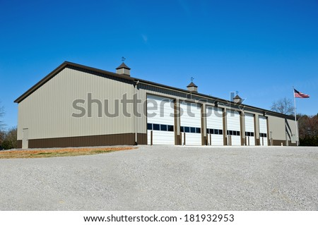 New Commercial Metal Building to be utilized as a New Fire Station. - stock photo