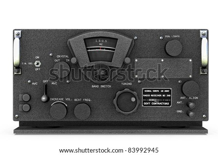New condition base station World War II United States Army Signal  Corps Radio receiver and Transmitter  chipped. Original illustration on clean white background. Clip art or cutout - stock photo