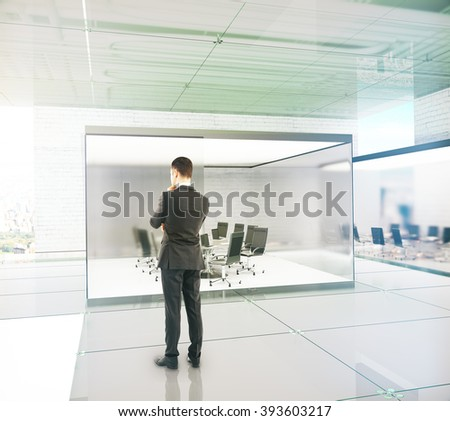 New conference room interior design with thinking businessman. 3D Render - stock photo