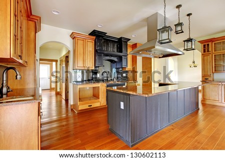New construction luxury home interior.Kitchen with beautiful details. - stock photo