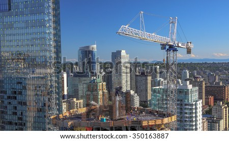 New construction of high-rise building in downtown  - stock photo