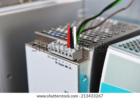 New control panel with electrical equipment - stock photo